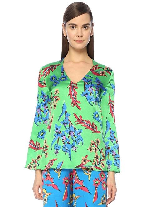 Etro V Yaka Çiçekli Bluz Yeşil